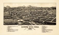 Canon City 1882 Bird's Eye View 17x28, Canon City 1882 Bird's Eye View